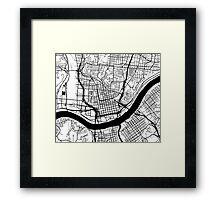Cincinnati Map - Black Inverted Framed Print