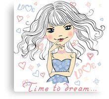 Beautiful fashionable girl dreams Canvas Print