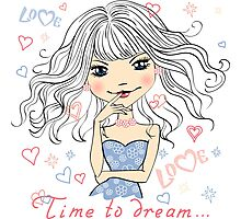 Beautiful fashionable girl dreams Photographic Print