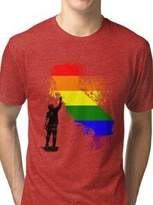 California Wall tagger Rainbow black Tri-blend T-Shirt