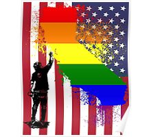 California Wall tagger Rainbow black Poster