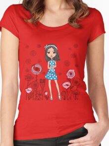 Cute fashion girl  Women's Fitted Scoop T-Shirt