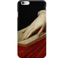 Renaissance old master cropped image, hand on book iPhone Case/Skin