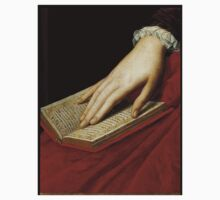 Renaissance old master cropped image, hand on book Kids Tee