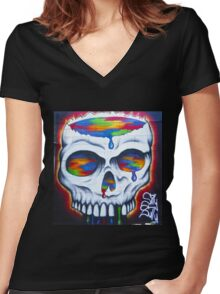Paint Skull Women's Fitted V-Neck T-Shirt