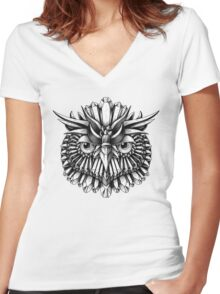 Crystal Owl Women's Fitted V-Neck T-Shirt