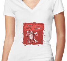 cartoon style voodoo baby with red background Women's Fitted V-Neck T-Shirt