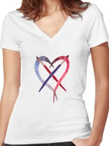 Heart Crossed Paintbrushes Women's Fitted V-Neck T-Shirt