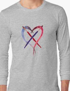 Heart Crossed Paintbrushes Long Sleeve T-Shirt