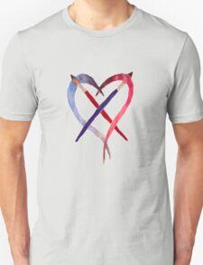 Heart Crossed Paintbrushes Unisex T-Shirt