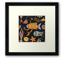 Yellow submarine in the deep ocean Framed Print