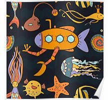 Yellow submarine in the deep ocean Poster
