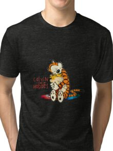 Calvin and Hobbes Big Hugs Nebula  Tri-blend T-Shirt