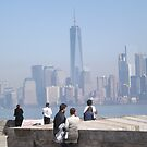 Aerial View of Lower Manhattan Skyline, World Trade Center, View from Statue of Liberty, Liberty Island by lenspiro