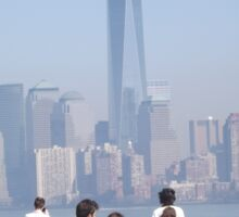 Aerial View of Lower Manhattan Skyline, World Trade Center, View from Statue of Liberty, Liberty Island Sticker