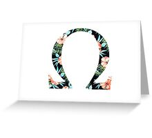 Omega Floral Greek Letter Greeting Card