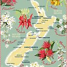 New Zealand Floral Map by contourcreative