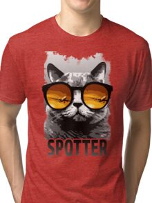 Plane Spotting Cat Tri-blend T-Shirt
