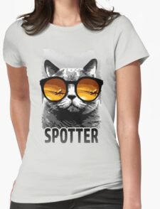 Plane Spotting Cat Womens Fitted T-Shirt