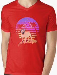 Pizza Pug Mens V-Neck T-Shirt
