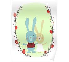 Springtime Easter Bunnies Poster