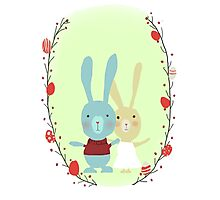 Springtime Easter Bunnies Photographic Print