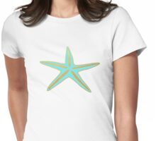 Turquoise and Gold Starfish  Womens Fitted T-Shirt