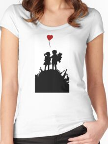 couple Banksy Boy And Girl Women's Fitted Scoop T-Shirt