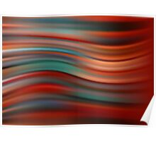 Abstract red modern wavy flowing silk, satin background, elegant smooth wave Poster