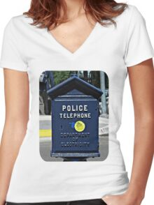 Police Telephone  Women's Fitted V-Neck T-Shirt