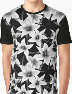 Seamless pattern with white lilies monochrome texture on black background Graphic T-Shirt