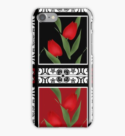 Oriental pattern modern elements with flowers of red tulips iPhone Case/Skin