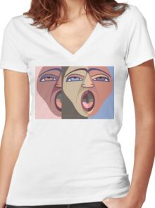 FACES #6 Women's Fitted V-Neck T-Shirt