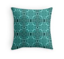 Turquoise abstract seamless lace pattern texture Throw Pillow