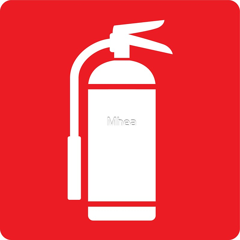Fire Extinguisher Symbol White On Red Stickers By Mhea