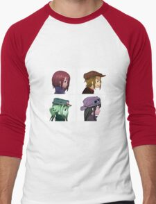 Houkago Tea Time (K-ON!) and Gorillaz mashup Men's Baseball ¾ T-Shirt