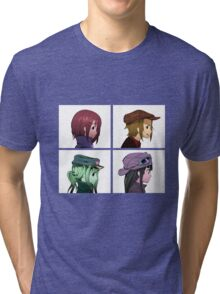 Houkago Tea Time (K-ON!) and Gorillaz mashup Tri-blend T-Shirt