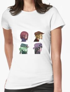 Houkago Tea Time (K-ON!) and Gorillaz mashup Womens Fitted T-Shirt