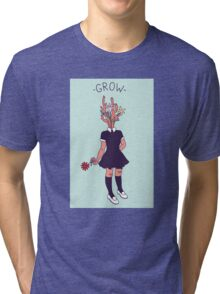 Grow–Plant Girl (orange) Tri-blend T-Shirt
