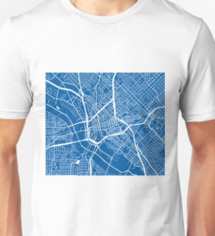 Dallas Map - Deep Blue Unisex T-Shirt