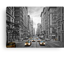 NYC 5th Avenue Yellow Cabs Metal Print