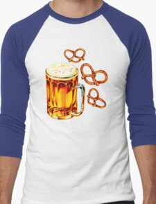 Beer & Pretzel Pattern Men's Baseball ¾ T-Shirt
