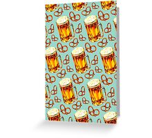 Beer & Pretzel Pattern Greeting Card