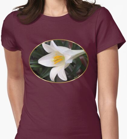 The Easter Lily ~ a Biblical Flower Womens Fitted T-Shirt