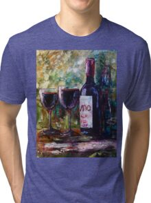 """Aged Wine"" Oil painting by Lena Owens/OLena Art Tri-blend T-Shirt"