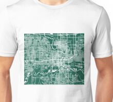 Des Moines Map - Dark Green Unisex T-Shirt
