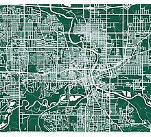 Des Moines Map - Dark Green Photographic Print