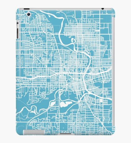 Des Moines Map - Baby Blue iPad Case/Skin