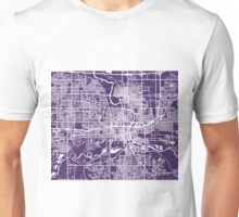 Des Moines Map - Dark Purple Unisex T-Shirt