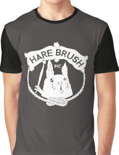 Hare Brush Logo - White Graphic T-Shirt